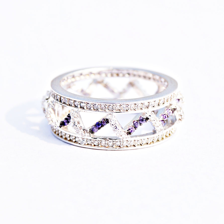 The Amethyst Wave Cz Ring Band