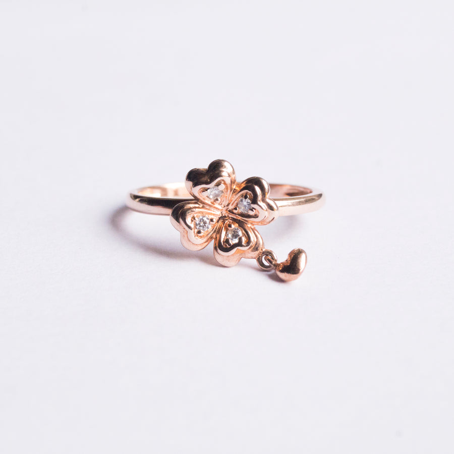 The Rose Gold  Flower with Charm Ring