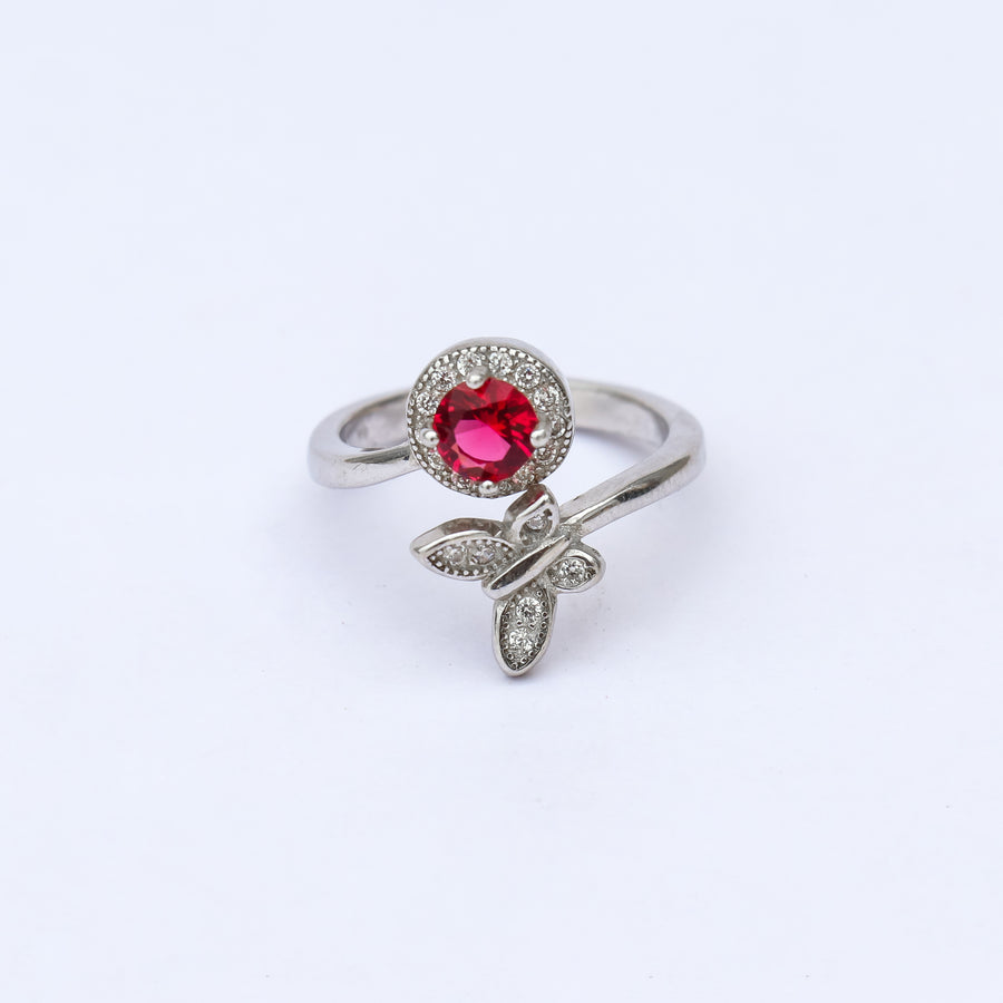 The Gem and Butterfly Adjustable Ring