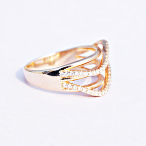 The Cz Wave Rosegold Ring