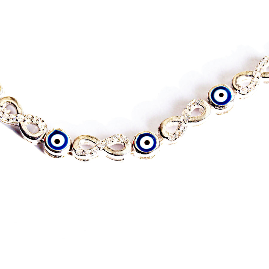 Sequence of Infinity Evil Eye Adjustable Bracelet