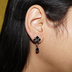 The Black Onyx Drop Studs