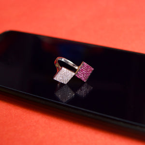 The Adjustable Silver Pink Square Ring