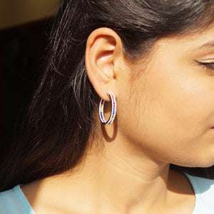 The Multi-stone Hoops with Diamond Periphery