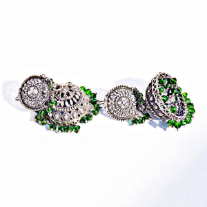 The Green Beads Light Weight Jhumkas