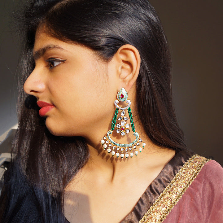 The Gold Look Kundan Earrings with Green Meena Touch