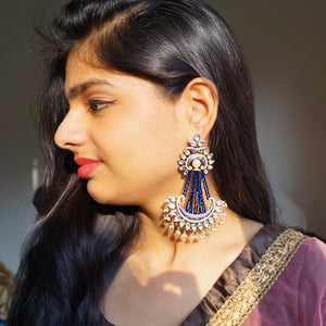 The Gold Look Kundan Earrings with Blue Meena Touch