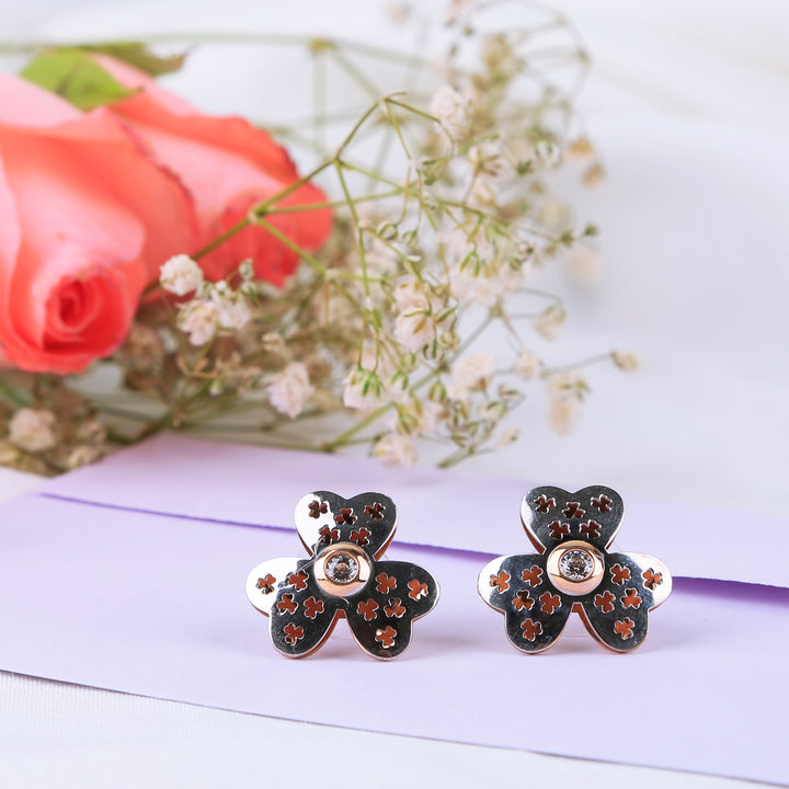 Tri-heart Leaf Flower Studs