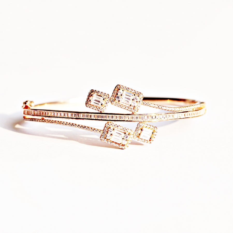 The Baguettes of Cz Rose Gold Openable Kada Bracelet