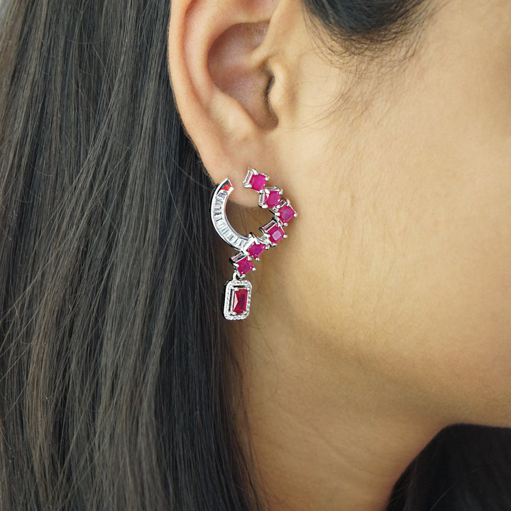 The Ruby Y Shaped Earrings