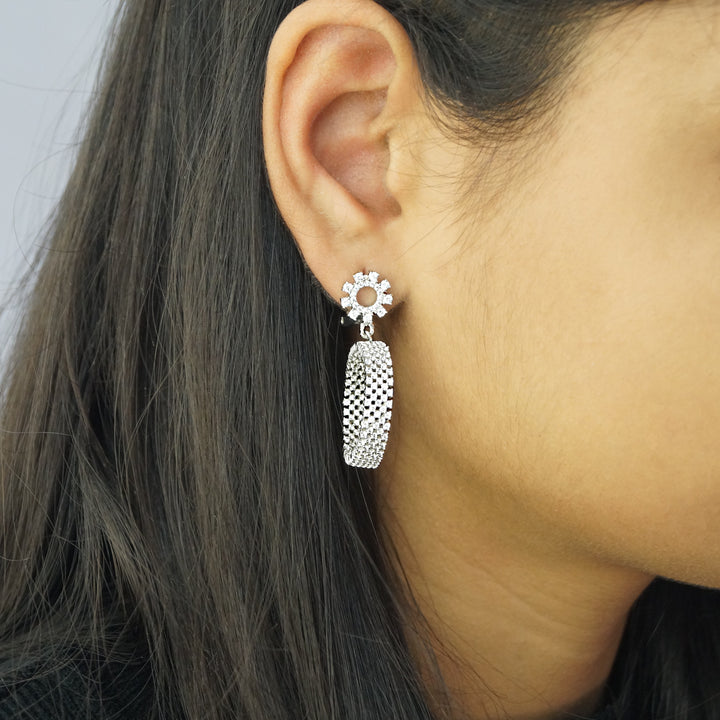 The Heavy Cz Hoop Look Stud Earrings
