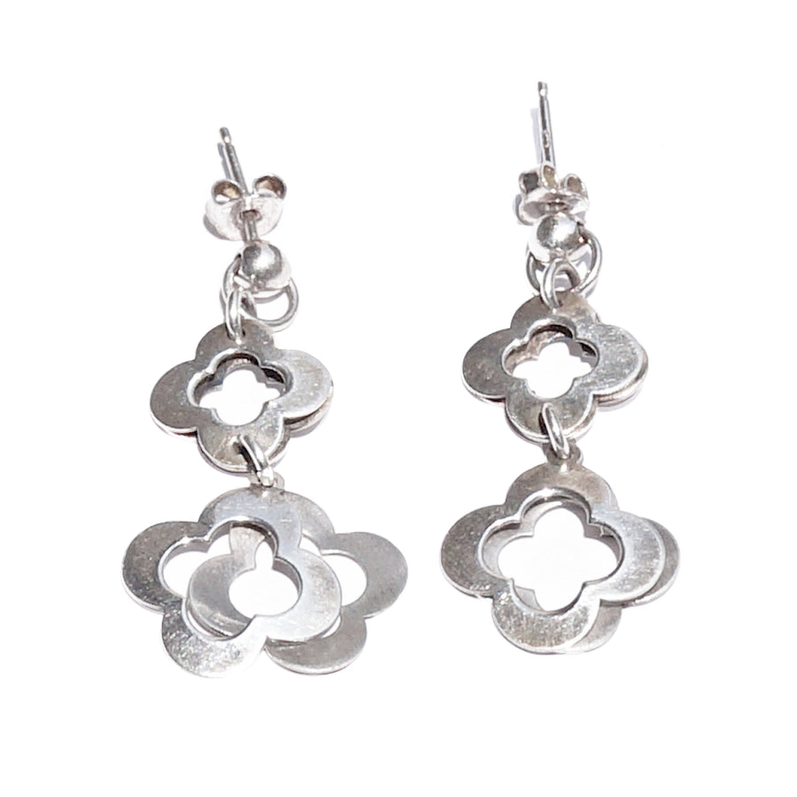 Floral Drop Silver Earrings