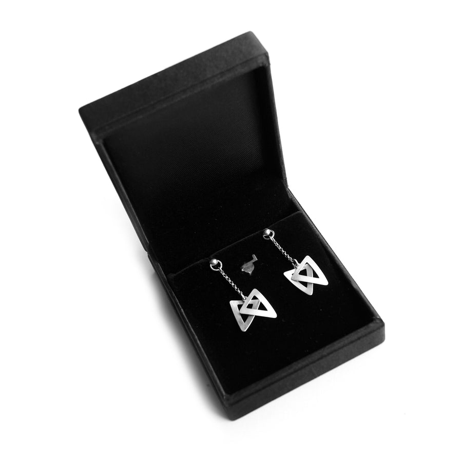 Lunar Point Down Triangle Silver Earrings