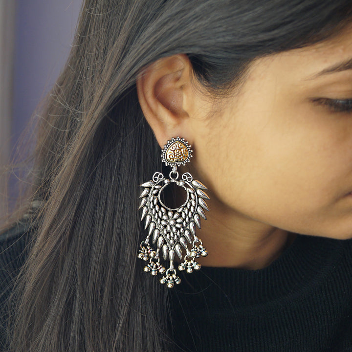 The Silver-Golden Spiky Jhumkas