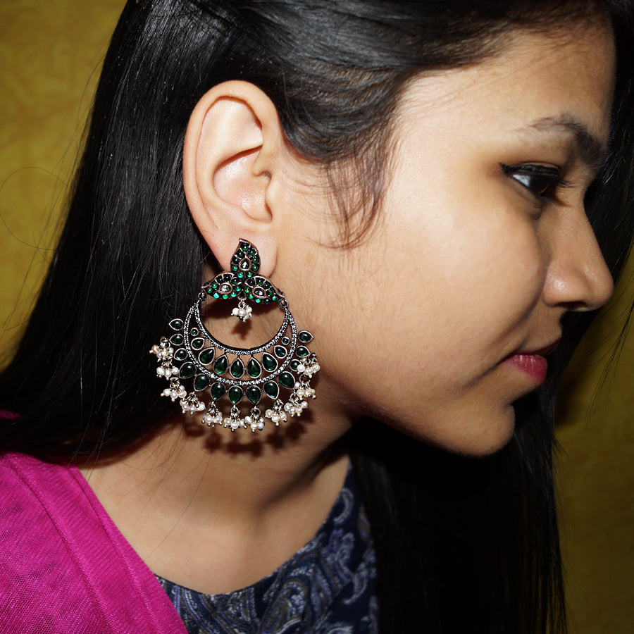 The Emerald Sparkeling Chandbala with Pearl Drops