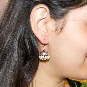 The Oxidised Jhumkis with Pearl and Golden Beads