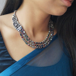 The Three Layered Navratan Necklace