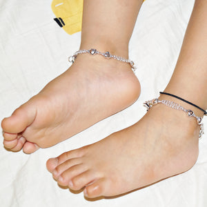 The Heart Beads Double Layer Kids Anklet (Pair)