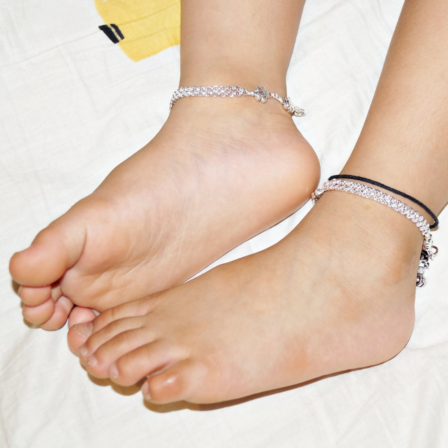 The Flower Beads Double Layer Kids Anklet (Pair)
