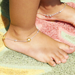 The Gold Trillium Flower Kids Anklet (Pair)