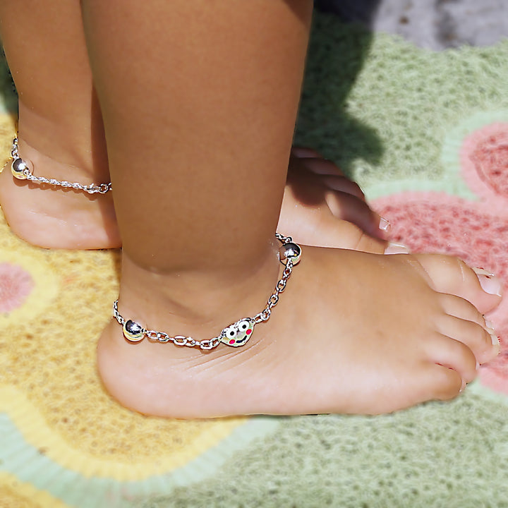 The Smilie Heart Kids Anklet (Pair)
