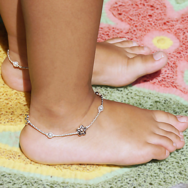 The Gold Daffodil Flower Kids Anklet (Pair)