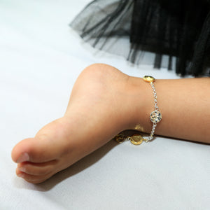 The Golden Sun and Flower Coin Kids Anklet (Pair)