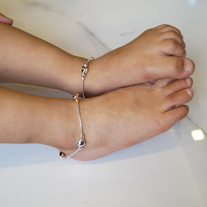 The Rose Gold - Silver Beaded Kids Anklet (Pair)