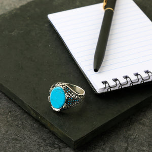 The Magnificent Oval Turquoise Snake Print Ring