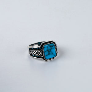 The Soft-edge Rectangle Turquoise Criss-cross Accent Ring