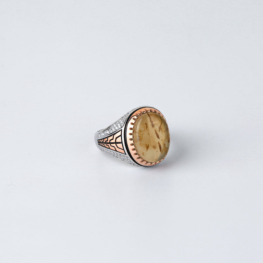 The Oval Stone Cz and Rosegold Blocks Accent Ring