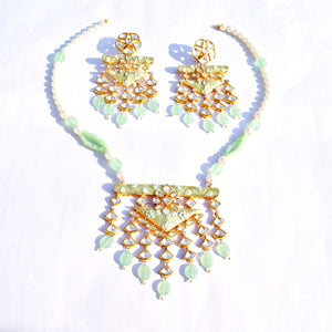 The Gold Look Kundan Moti Haar Necklace with Mint Green Finish