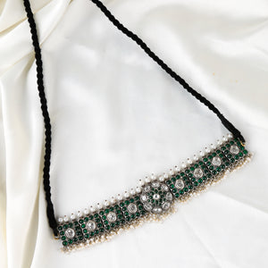 The Elegant Emerald-Pearl Wide Band Choker Necklace