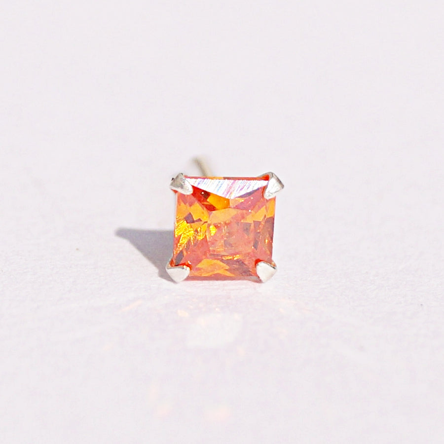 The Colourful Princess-cut Solitaire Nosepin (3mm) (Pushback)