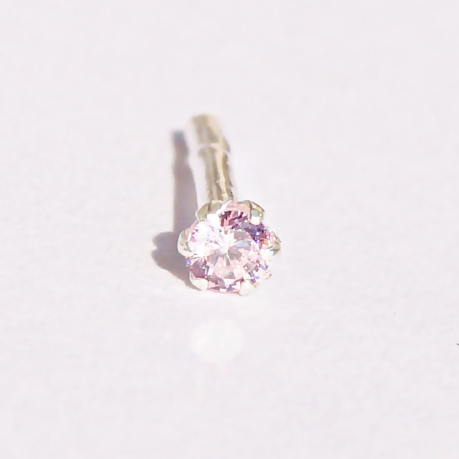 The Colourful Round-cut Solitaire Nosepin (2mm) (Pushback)