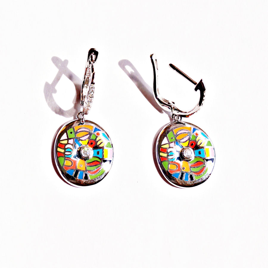 The Colourful Abstract Pendant Set with Ring