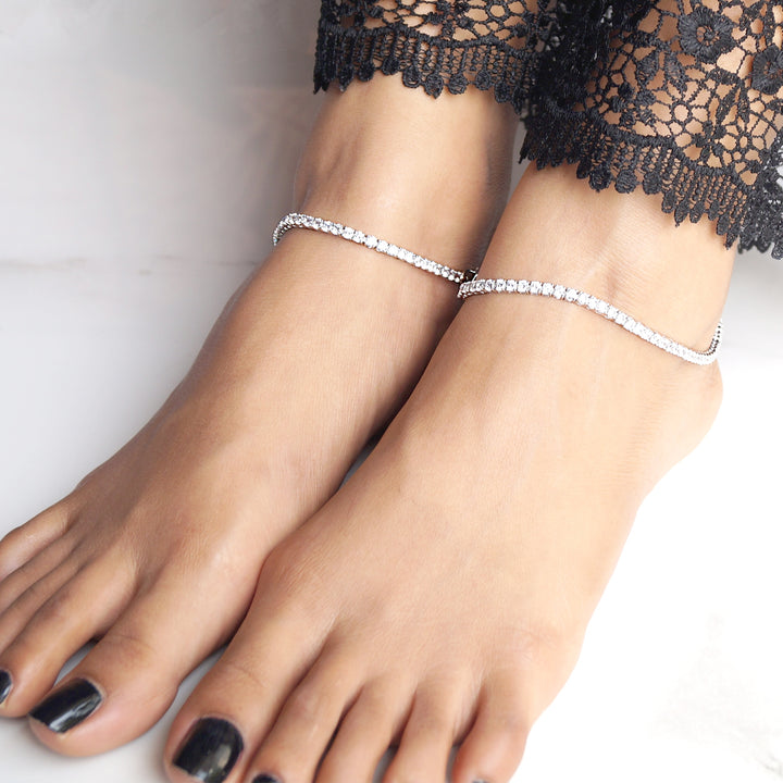 Linear Look Solitaire Anklet (3mm) (Pair)