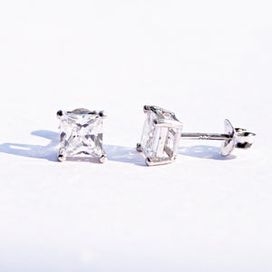 Princess Cut Solitaire Studs (5mm)