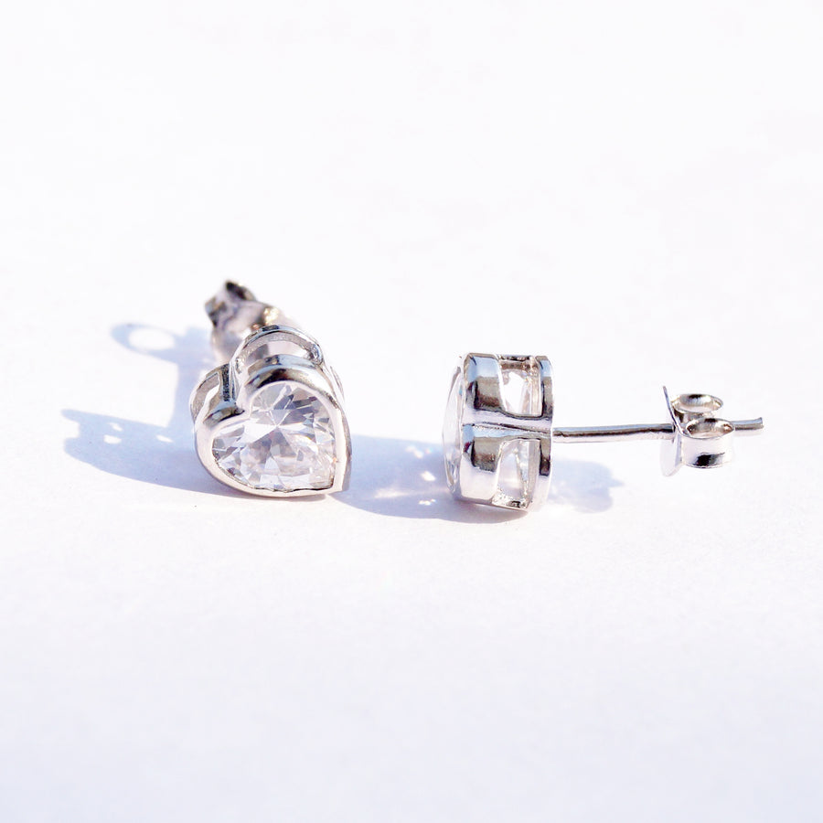 Framed Heart Cut Solitaire Studs (6mm)