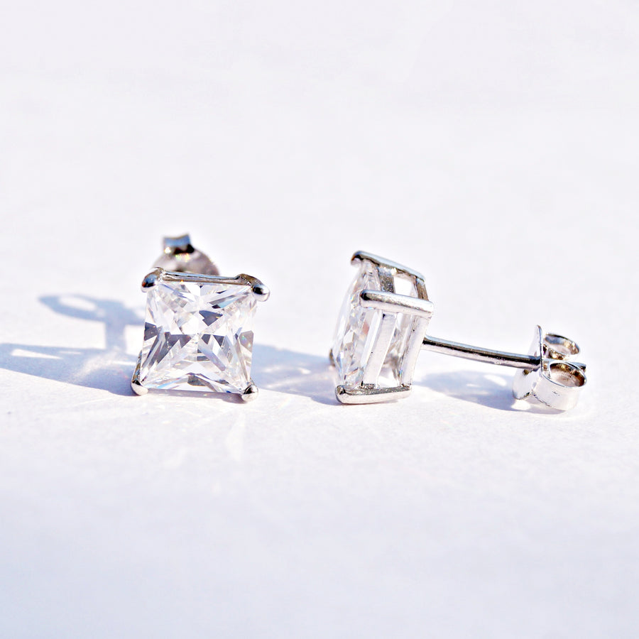Princess Cut Solitaire Studs (6mm)