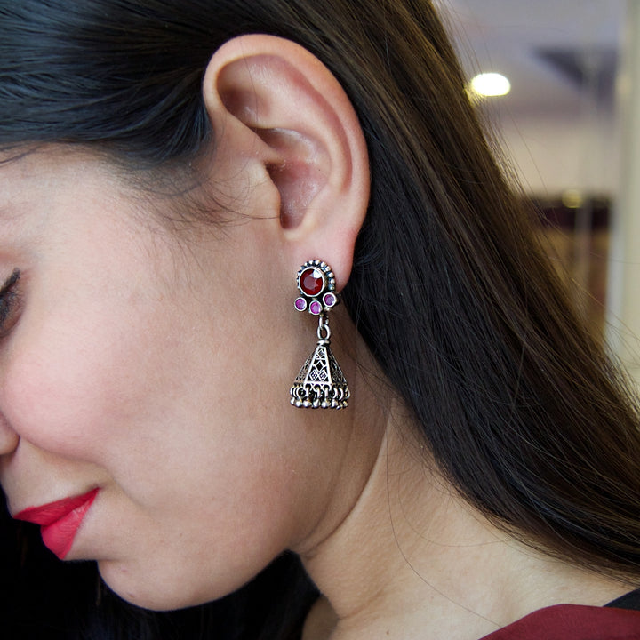 The Pink and Red Triangle Jhumka
