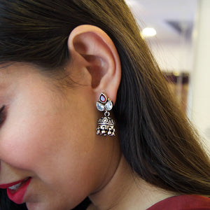The Oxidised Cut Stone and Ruby Jhumka