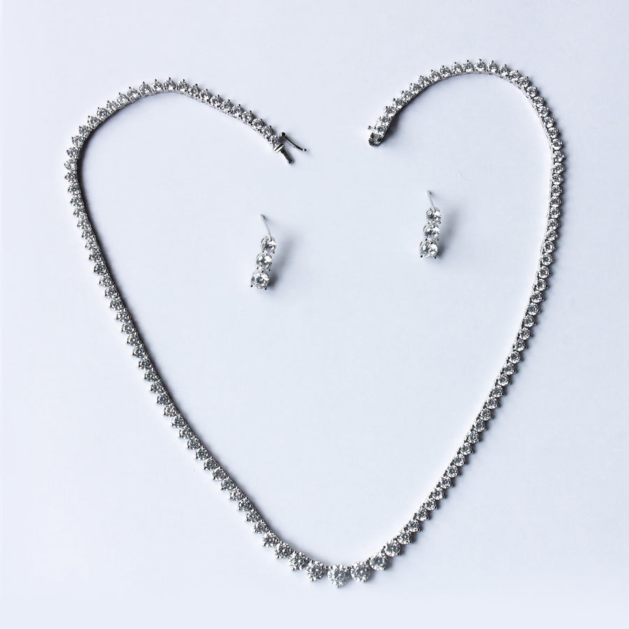 The Rail Of Cz Solitaire Necklace Set