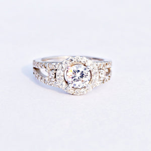 The Halo Solitaire with Double Accent Cz Ring