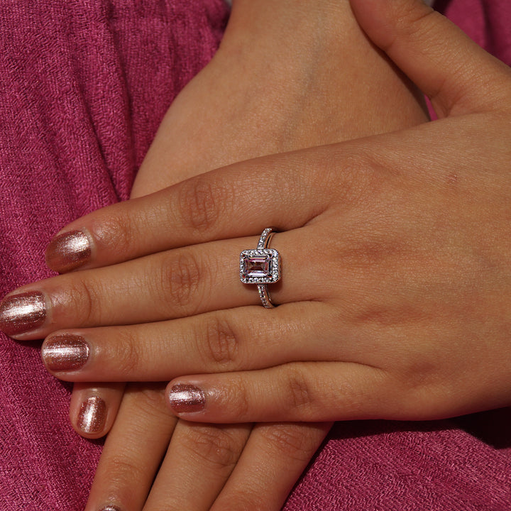 Emerald Cut Solitaire with Halo-Accent Diamonds Ring