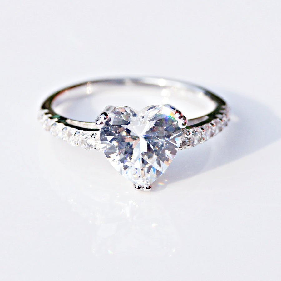 Heart Cut Solitaire with Accent Diamonds Ring
