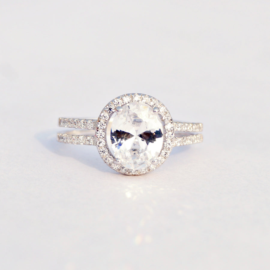The Oval Cut Solitaire Double Band Ring