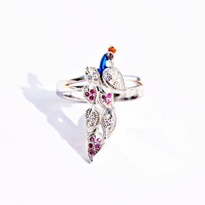 The Ruby Wing Peacock Ring