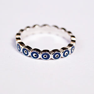The Navy Blue Evil Eye Band Ring