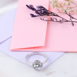 The Halo Solitaire Ring with Surprise Heart Stencil